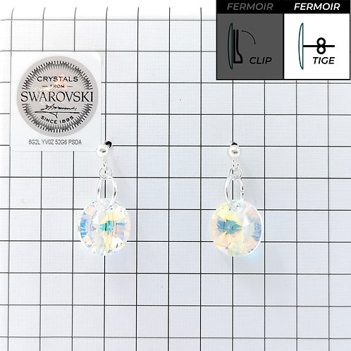 Boucles d'oreille - Pendant Rond 12mm - Crystal AB