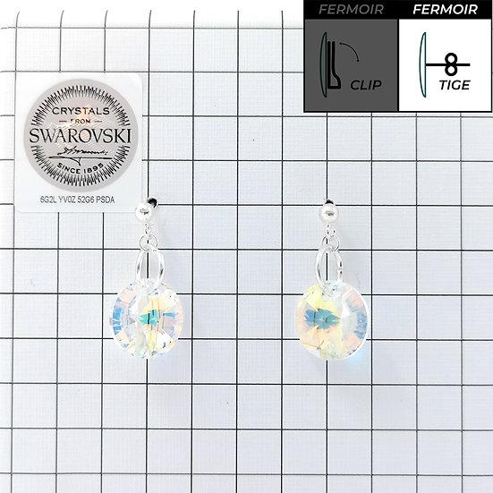 Boucles d'oreille - Pendant Rond 12mm - Crystal AB