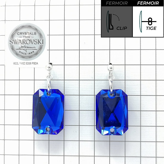 Boucles d'oreille - Emerald cut - Majestic Blue color
