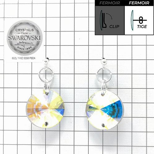 Boucles d'oreille - Pendant 3200 18mm - Crystal AB