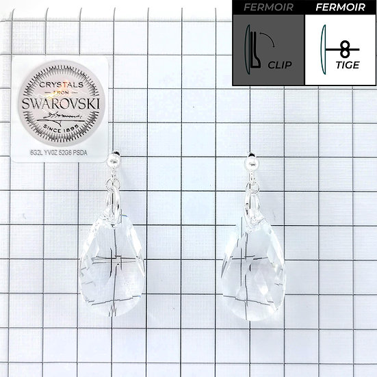 Boucles d'oreille - Pendant Pear Shaped -Crystal