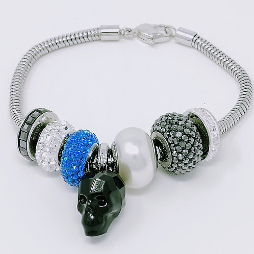 BRACELET - Skull Black/Blue