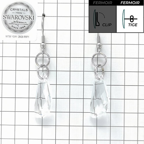 Boucles d'oreille crochet - Pendant Wing - Crystal
