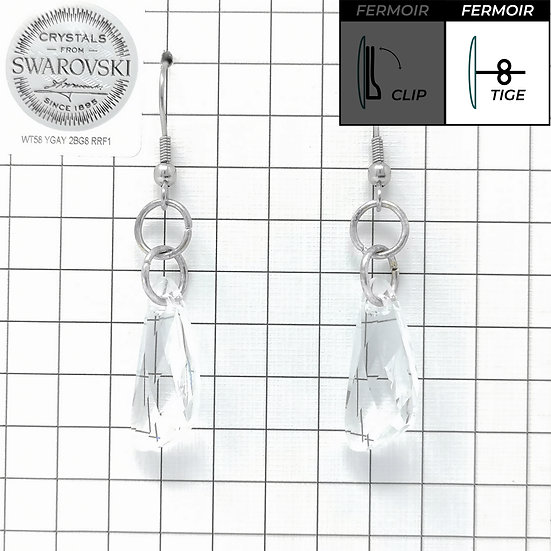 Boucles d'oreille crochet - Pendant Wing - Crystal
