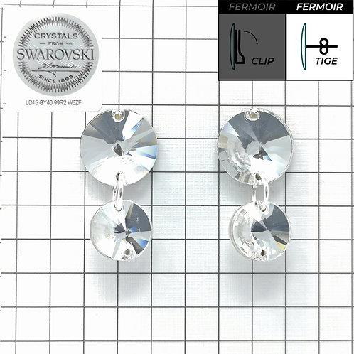 Boucles d'oreille - Double Pendant 3200 - Crystal