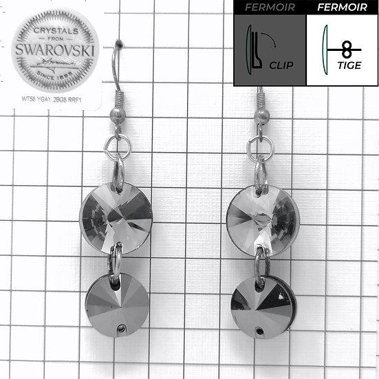 Boucles d'oreille crochet - Double Pendant 3200 - Jet Hématite