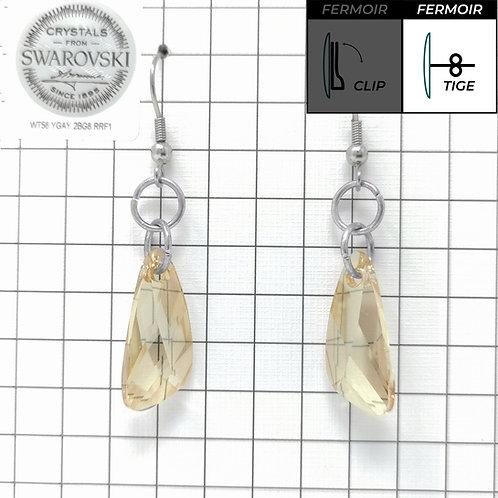 Boucles d'oreille crochet - Pendant Wing - Crystal Golden Shadow
