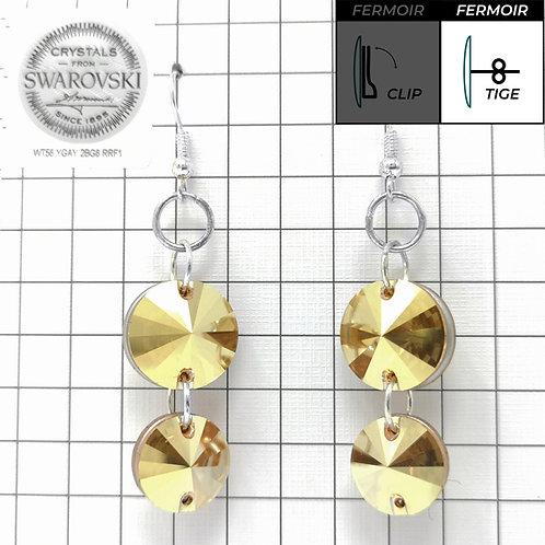 Boucles d'oreille crochet - Double Pendant 3200 -Crystal Metallic Sunshine