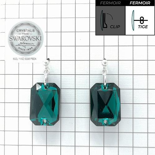 Boucles d'oreille - Emerald cut - Emerald color