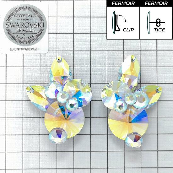 Boucles d'oreille - 2x3200 + 2xNavette - Crystal AB