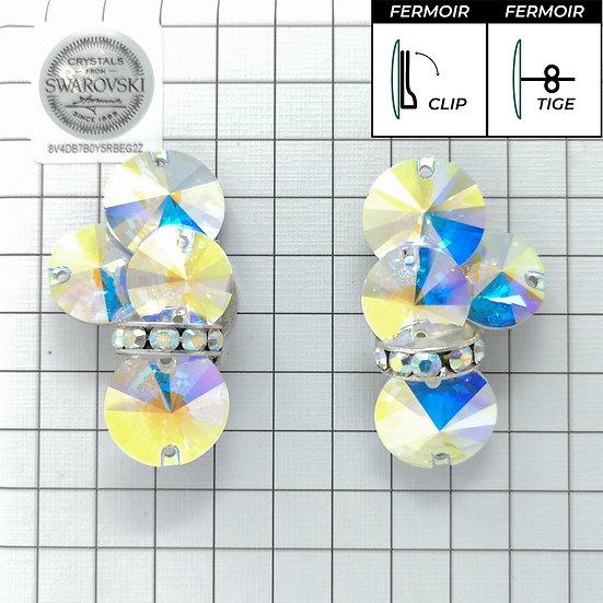 Boucles d'oreille - 4x3200 + bague - Crystal AB