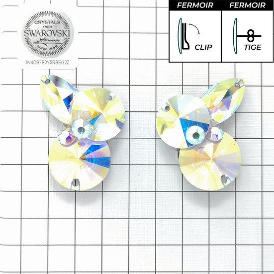 Boucles d'oreille - 2x3200 + navette - Crystal AB
