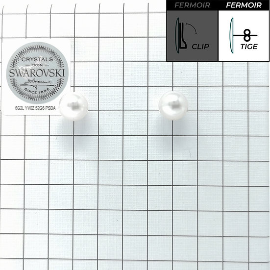 Boucles d'oreille - Perles rondes 8mm