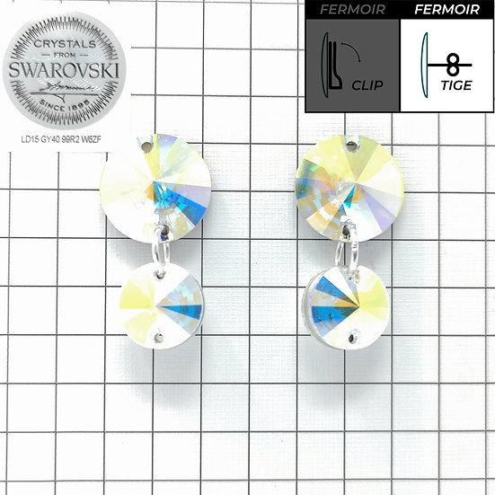 Boucles d'oreille - Double Pendant 3200 - Crystal AB