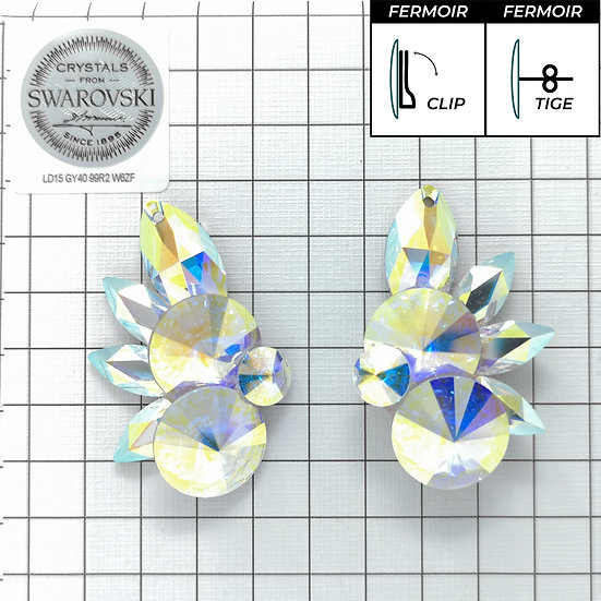 Boucles d'oreille - 2x1201 + 4Navette s- Crystal AB