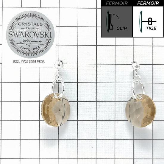 Boucles d'oreille - Pendant rond 12mm - Light Colorado Topaz