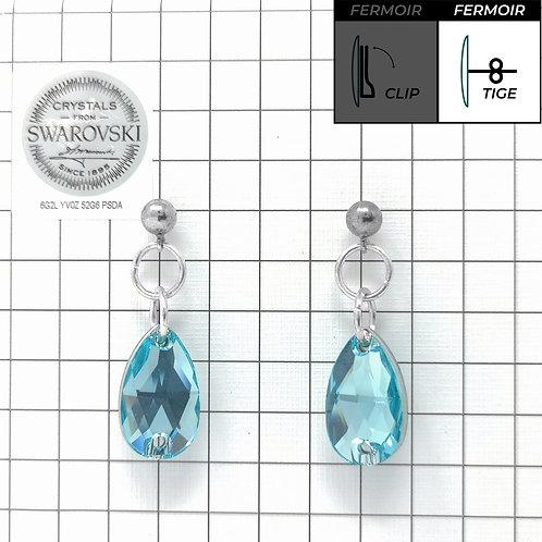 Boucles d'oreille - Pendant Goutte - Aquamarine