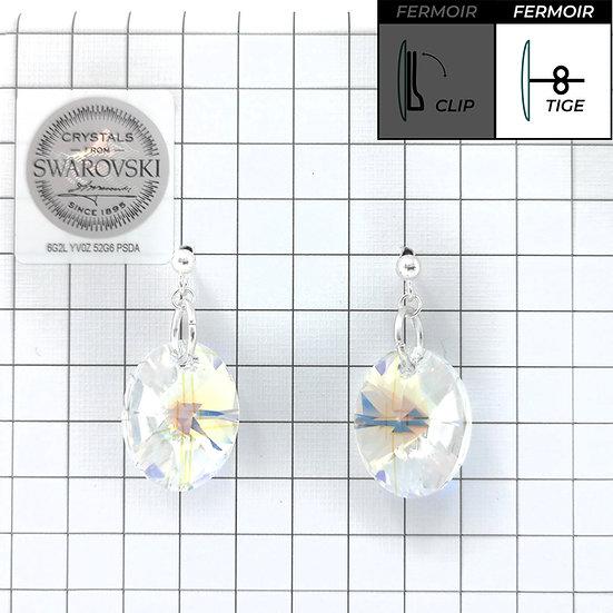 Boucles d'oreille - Pendant Oval - Crystal AB