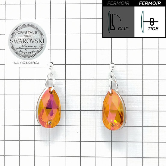 Boucles d'oreille - Pendant Goutte - Crystal Astral Pink