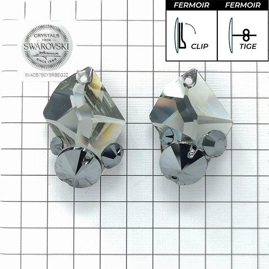 Boucles d'oreille - 3265 - Jet Hématite Black Diamond