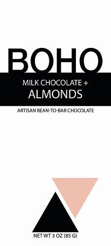 Milk Chocolate + Almonds, 3oz (85g) bar, 12 per case