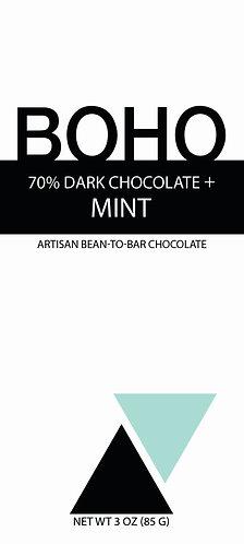 70% Dark Chocolate + Mint, 3 oz (85g) bars, 12 per case