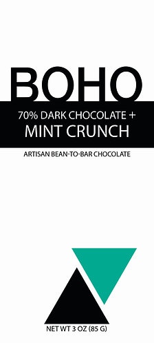 70% Dark Chocolate + Mint Crunch, 3 oz (85g) bar, 12 per case