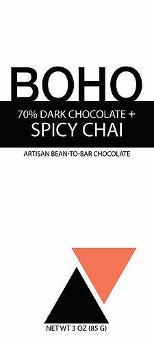 70% Dark Chocolate + Spicy Chai, 3 oz (85g) bar, 12 per case