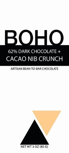 62% Dark Chocolate + Cacao Nib Crunch, 3 oz (85g), 12 per case