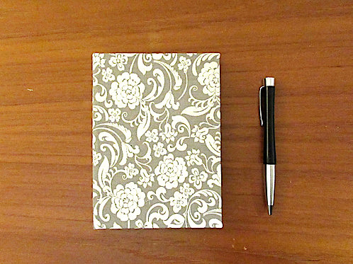 Handmade Casebound Notebook - Vintage Flower - 100% Cotton - Blank P