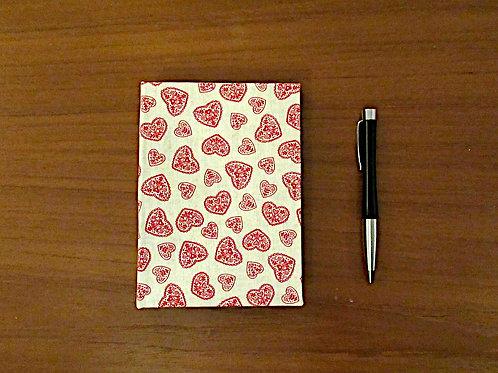 Handmade Casebound Notebook - Red Hearts 100% Cotton - Blank Paper