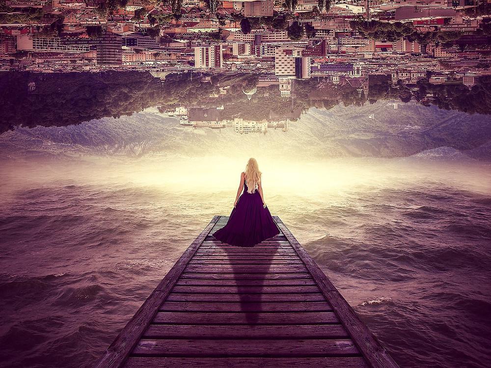 woman standing on bridge to nowhere
