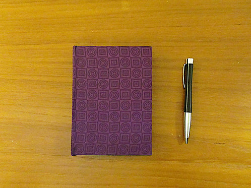 Handmade Casebound Notebook - Purple Squares Polyester - Blank Paper