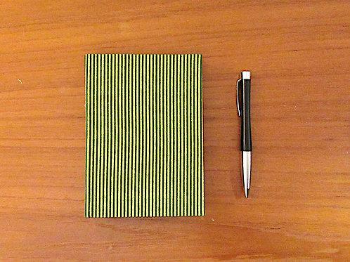 Handmade Casebound Notebook - Green/Gold Stripes - 100% Cotton - Blank Paper