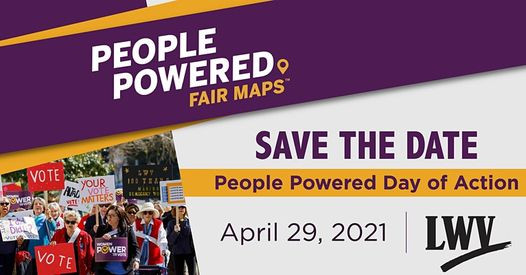 A purple and gold themed image asking you to save the date for the LWV People Powered Day of Action. An inset photo shows a diverse group of women marching in support of board voting rights.