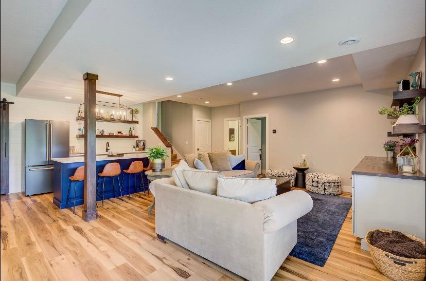 Modern Farmhouse Basement  | Pinnacle Interior Designs