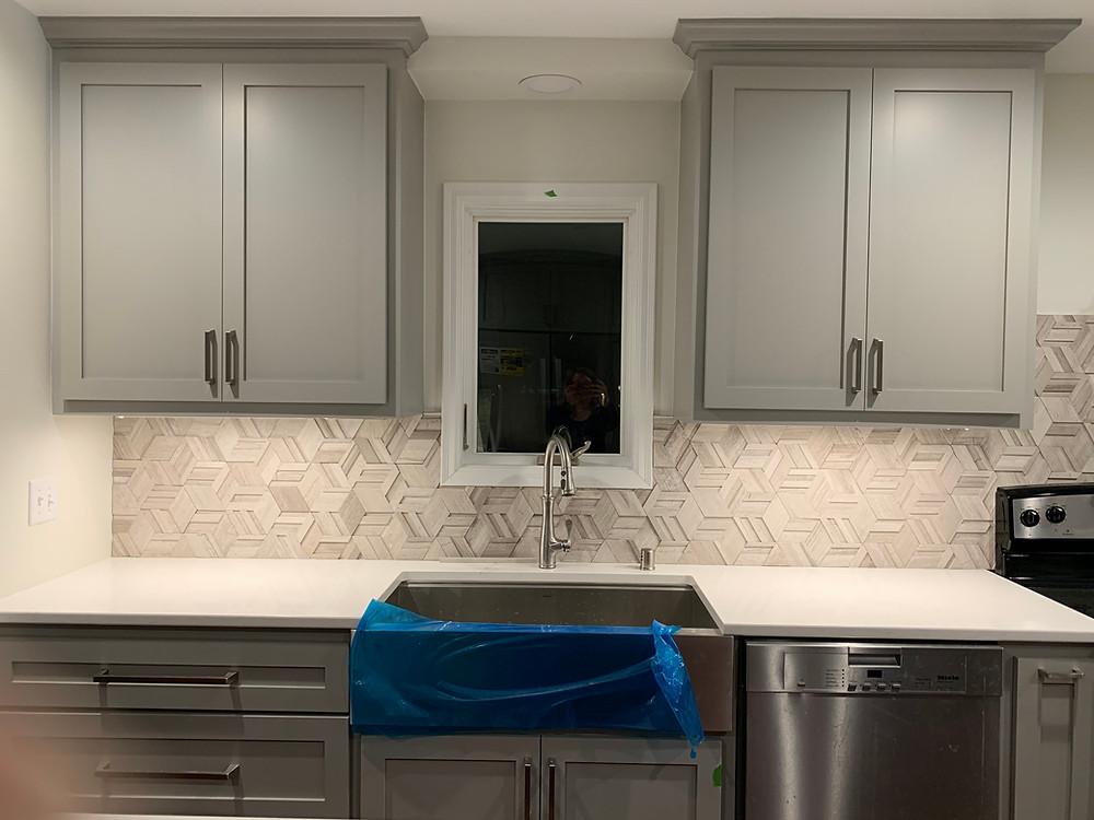 Back splash tile install | Pinnacle Interior Designs