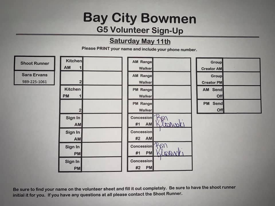 G5 Sign Up Sheet - Saturday 2019