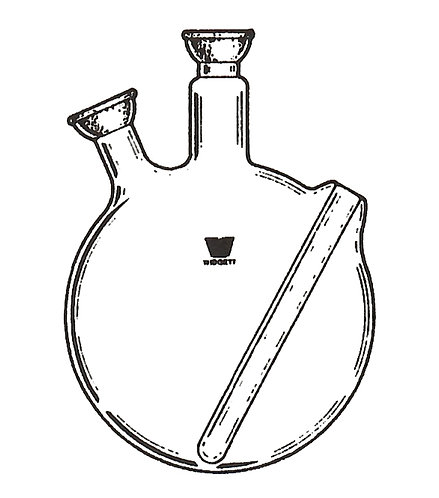 2 Neck Flask (SJ) Angled, Flush Thermowell