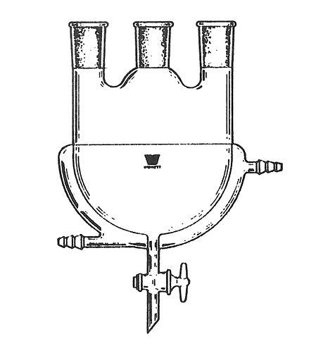 3 Neck Flask [ST] Vertical, Jacketed, Glass Valve