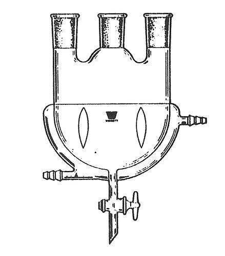 3 Neck Flask [ST] Vertical, Morton Indents, Jacketed, Glass Valve