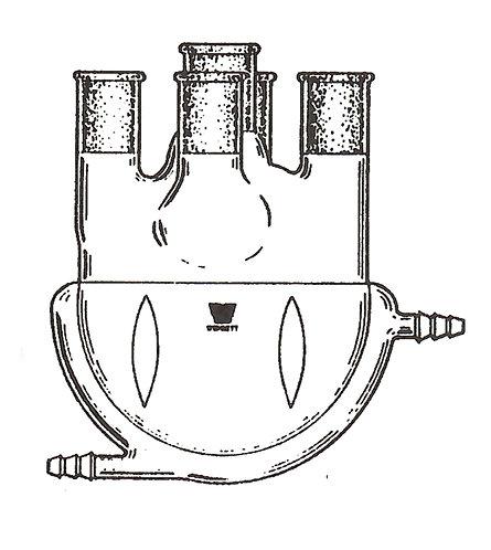 5 Neck Flask [ST] Vertical, Jacketed, Morton Indents