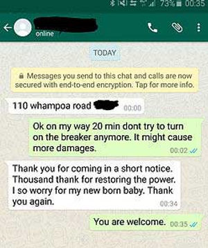 electrician on text message