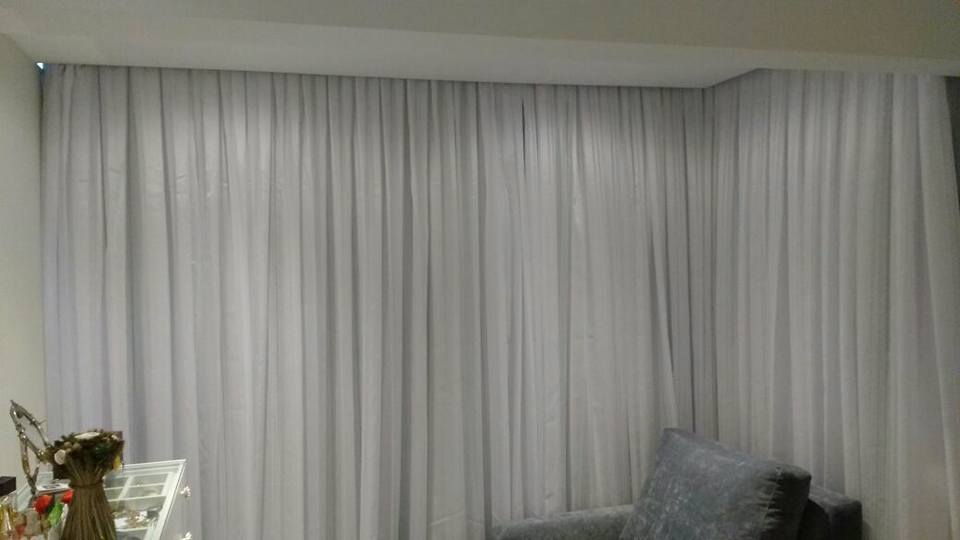 cortina voil e blackout trilho curvo