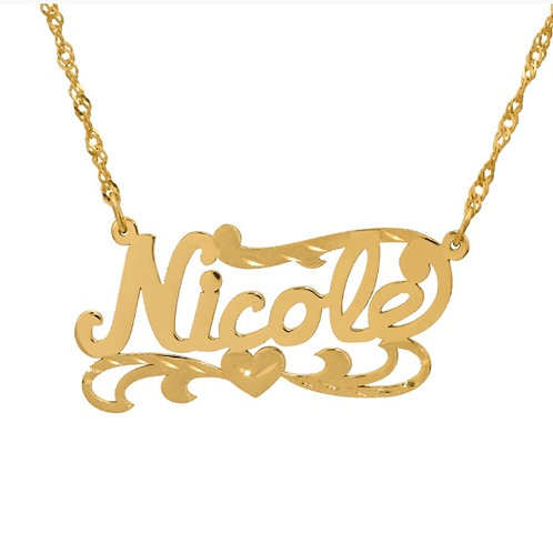 Personalized Name Plate Necklace w/ Heart