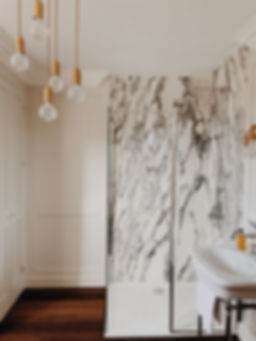 Marble bathroom, walk in shower, crystal lighting, period bathroom, traditional cottage