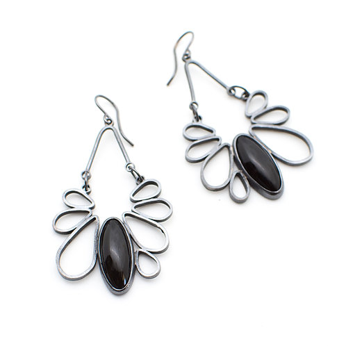 Onyx Gothic Floral Earrings