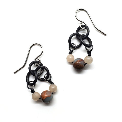 Small Charm Earrings, Snakeskin Jasper
