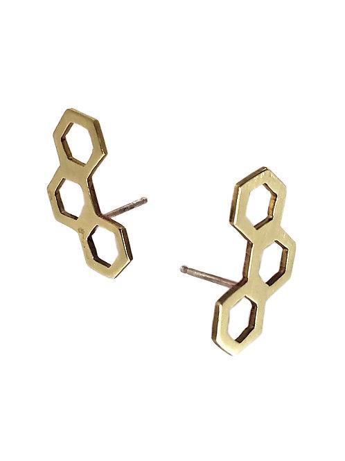 Honeycomb Ear-Climber Stud Earrings