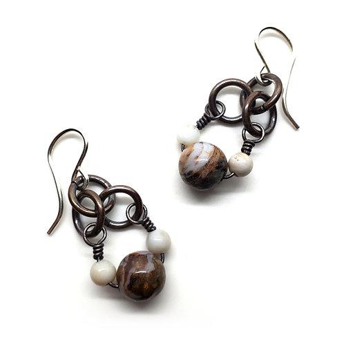 Small Charm Earrings, African Opal, Howlite